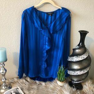 Imnyc Isaac Mizrahi Ruffle Blouse Sapphire Blue